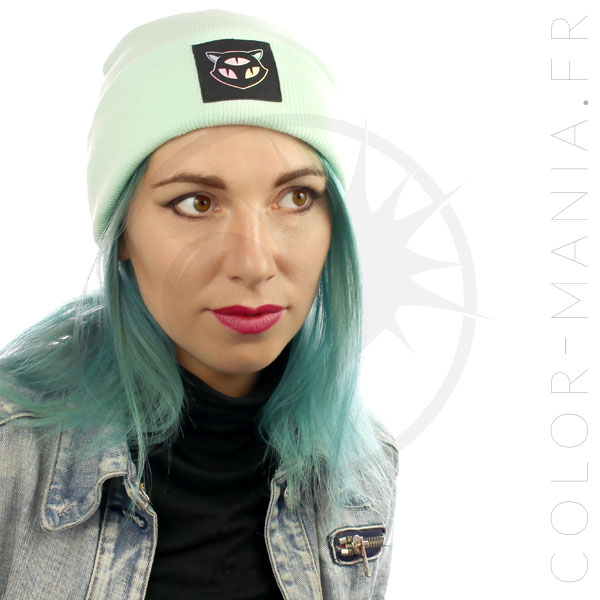 Beanie Green Mint Cat 3 Ojos holográficos | Color-Mania