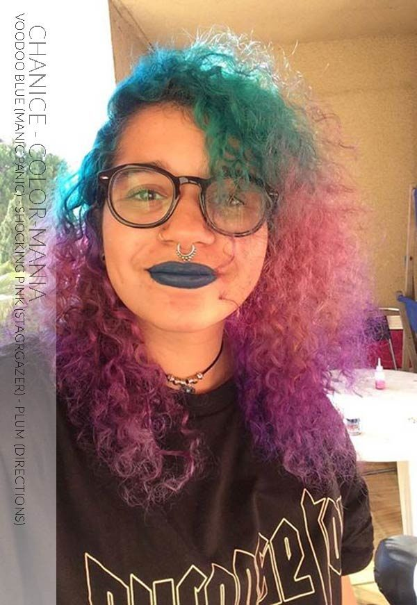 Merci Chanice :) Coloration Cheveux Bleu Voodoo Blue - Manic Panic, Shocking Pink - Stargazer, Prune - Directions sur restes de coloration vert