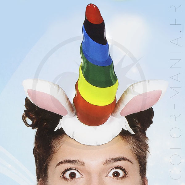 Headband Corne de Licorne Gonflable | Color-Mania