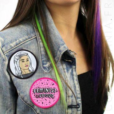Patch Khaleesi Noir et Blanc et Patch Rose Feminist & Proud | Color-Mania