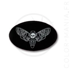 Patch Noir Papillon de Nuit Sphinx Tête de Mort | Color-Mania