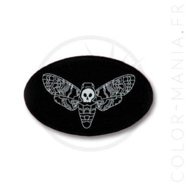 Patch Noir Papillon de Nuit Sphinx Tête de Mort | Color-Mania