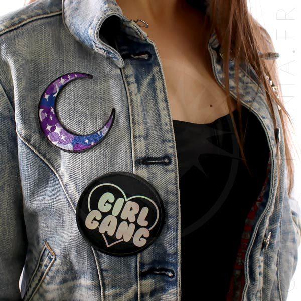 Patch Girl Gang Holographique Noir | Color-Mania