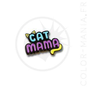 Pin's Cat Mama Bleu et Violet   Color-Mania