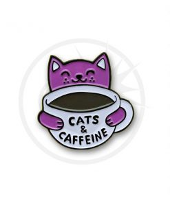 Pin's Cats & Caffeine Blanc et Violet | Color-Mania