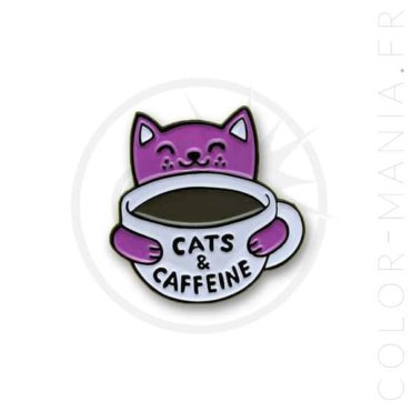 Pin's Cats & Caffeine Blanc et Violet | Color-Mania