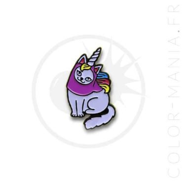 Pin's Chat-Licorne Blanc et Violet | Color-Mania