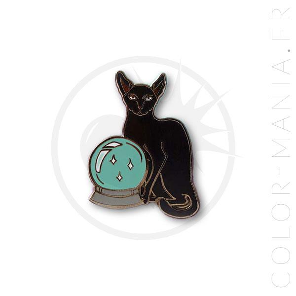 Pin's Chat Noir avec Boule de Cristal | Color-Mania