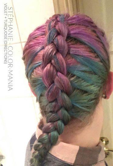Gracias Stéphanie :) Violet and Turquoise Hair Coloring después de varios champús - Direcciones