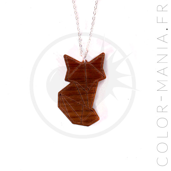 Fox Wood Brown Origami Necklace | Color-Mania