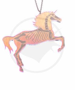Collar del unicornio esquelético iridiscente transparente | Color-Mania