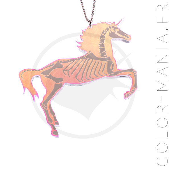 Collier Licorne Squelette Transparent Irisé | Color-Mania