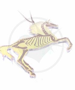 Collier Licorne Squelette Transparent Irisé | Color-Mania