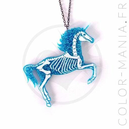 Collier Licorne Squelette Paillettes Bleu Turquoise   Color-Mania