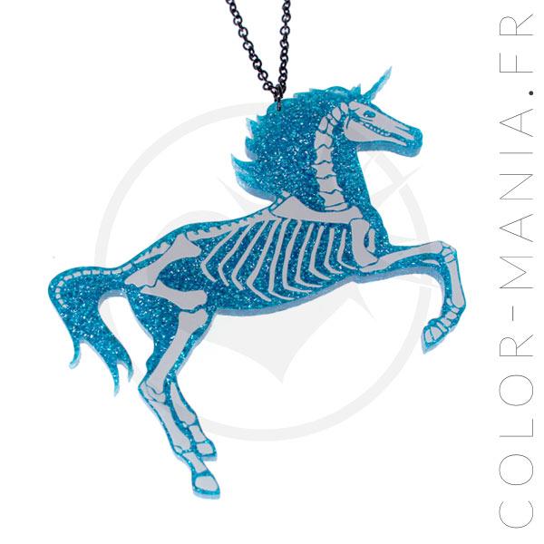 Collier Licorne Squelette Paillettes Bleu Turquoise | Color-Mania