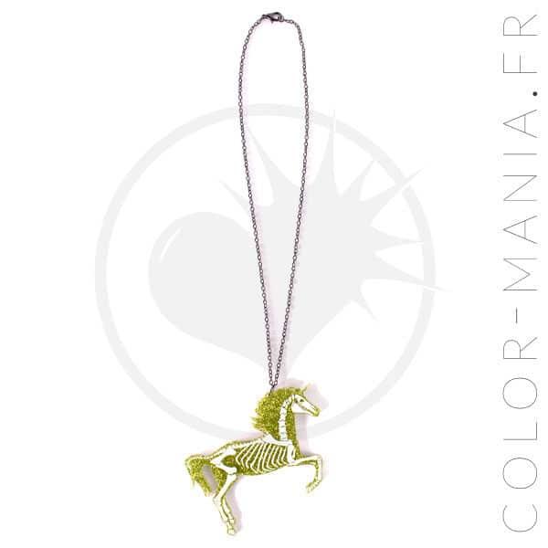 Collar del unicornio esquelético del brillo de oro | Color-Mania