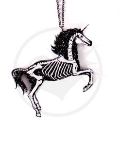 Collier Licorne Squelette Noir Paillettes | Color-Mania