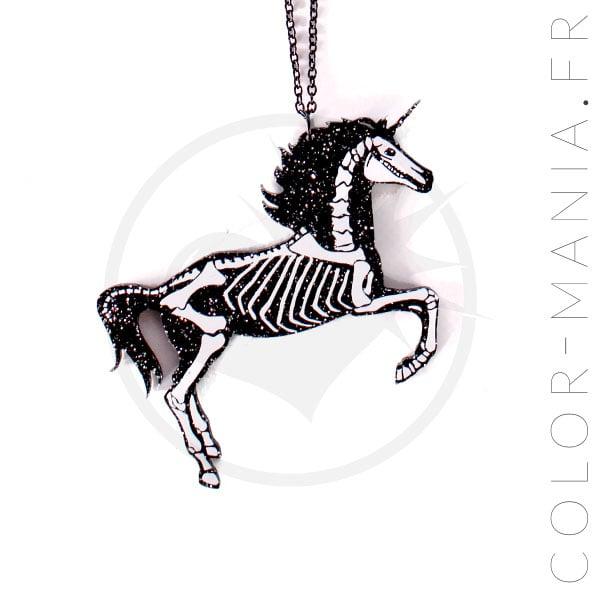 Collar Esqueleto Negro Unicornio | Color-Mania