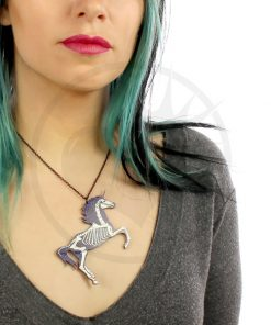Collana Unicorn Skeleton paillettes viola scuro | Color-Mania