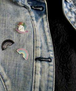 Pin's Licorne Majestic As Fuck, Arc-en-Ciel noir pailleté et pastel | Color-Mania