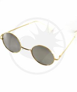 Gafas de sol redondas de oro - Gafas de espejo de plata | Color-Mania