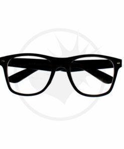 Lunettes type Wayfarer Noires - Verres Transparents | Color-Mania