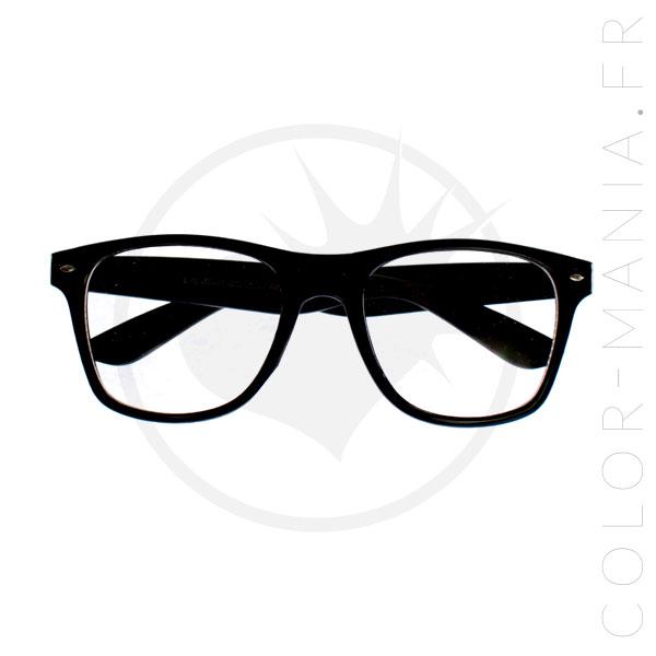 Lunettes type Wayfarer Noires - Verres Transparents   Color-Mania cb1b283da846