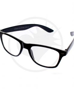 Óculos de Wayfarer preto - óculos transparentes | Cor-Mania