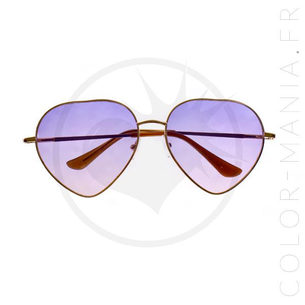 Lunettes de Soleil Cœurs Violet Ombré | Color-Mania