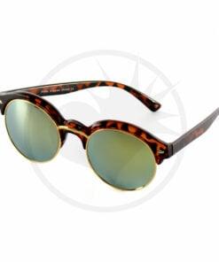 Gafas de sol de medio cuerpo con tortuga de tortuga - Gafas de efecto espejo | Color-Mania