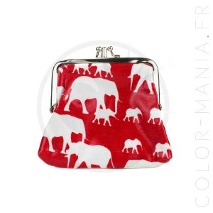 Porte-Monnaie Rétro Rouge Imprimé Éléphants | Color-Mania