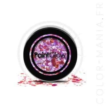 Grosses Paillettes Maquillage Rose Heartbreaker - PaintGlow | Color-Mania