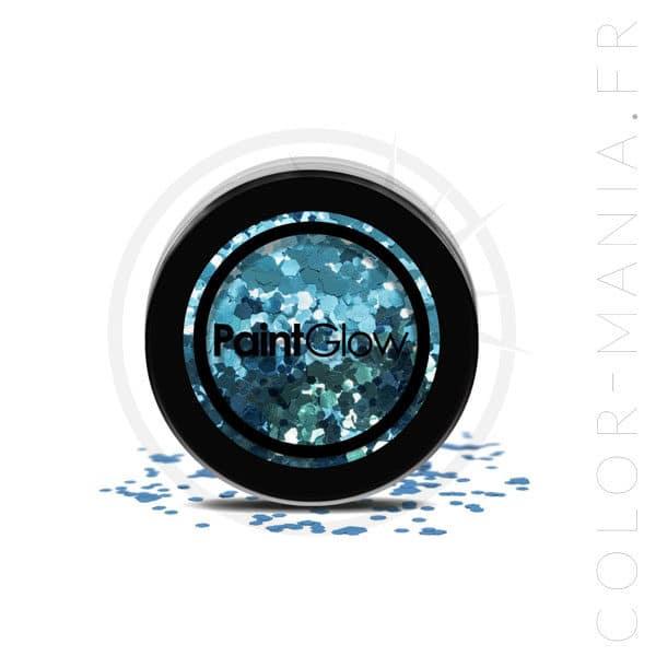 Caleidoscopio azul grande del maquillaje de las lentejuelas - PaintGlow | Color-Mania