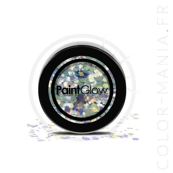 Maquillaje de grandes lentejuelas azul verde sirena mística - PaintGlow | Color-Mania
