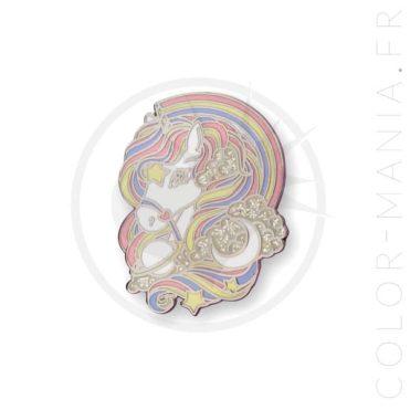 Pin's Licorne Arc-en-Ciel Pastel & Paillettes   Color-Mania