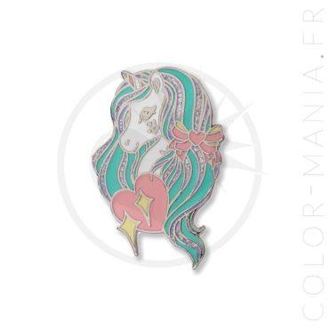 Pin's Licorne Crinière Vert Menthe & Paillettes | Color-Mania