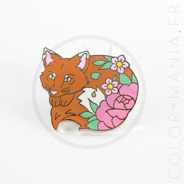 Orange Fox Pin y flores rosadas | Color-Mania