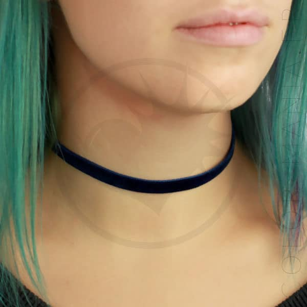 Collier Ras-de-Cou Velours Bleu Nuit | Color-Mania