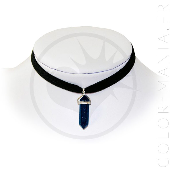Collier Ras-de-Cou Velours Goldstone Bleue | Color-Mania