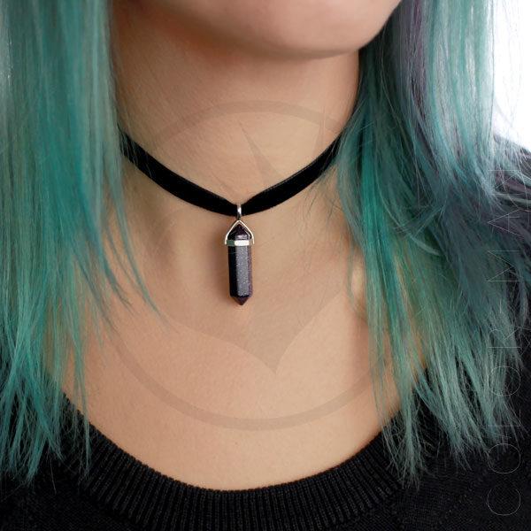 Collar de gargantilla de terciopelo azul Goldstone | Color-Mania