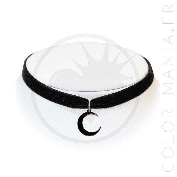 Collier Ras-de-Cou Velours Lune Noire | Color-Mania