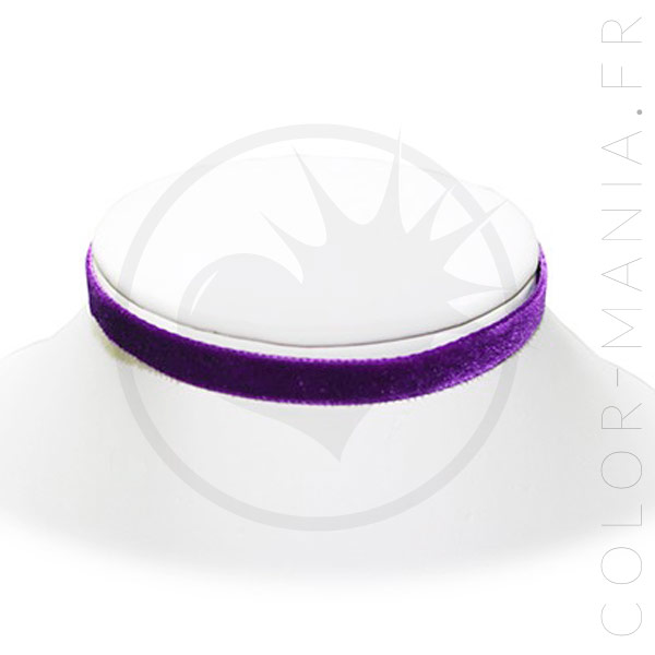 Collier Ras-de-Cou Velours Violet Prune   Color-Mania