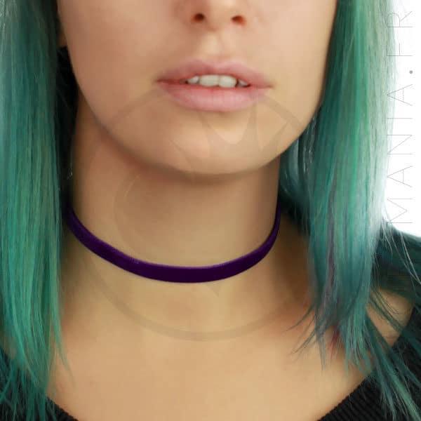 Collier Ras-de-Cou Velours Violet Prune | Color-Mania