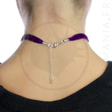 Collier Ras-de-Cou Velours Violet Prune | Color-Mania