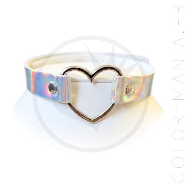Collier Ras-de-Cou Holographique Anneau Coeur   Color-Mania.fr
