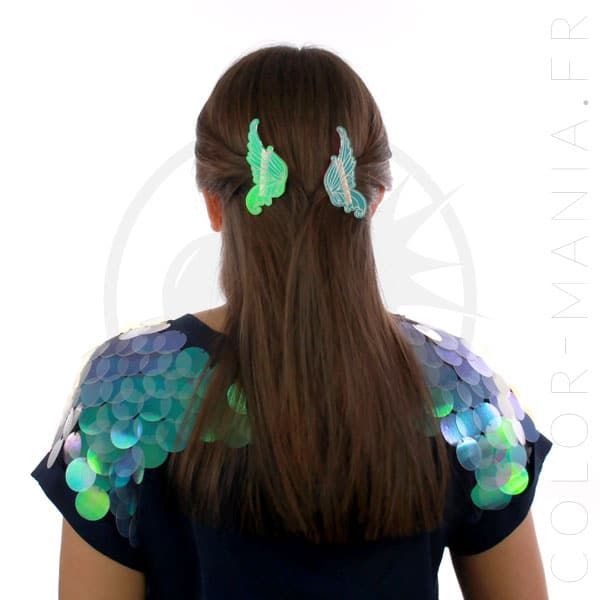 Barrettes Ailes de Fée Transparent Irisé | Color-Mania