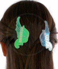 Barrettes ailes de fée irisées portées sur modèle