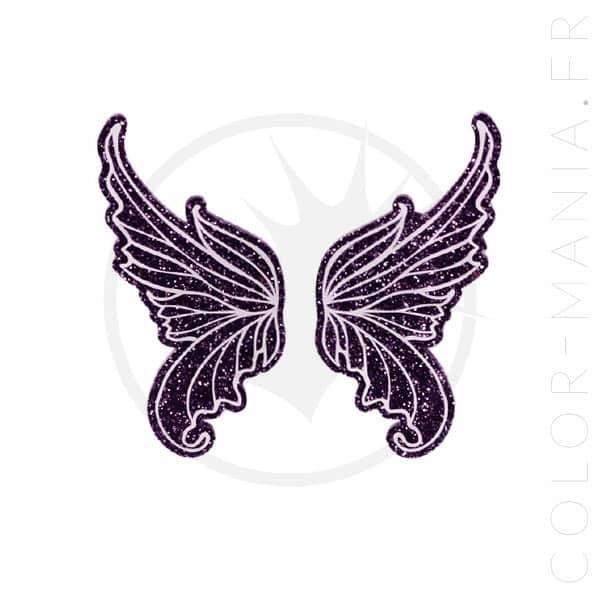 Barrettes Ailes de Fée Violet Pailleté | Color-Mania