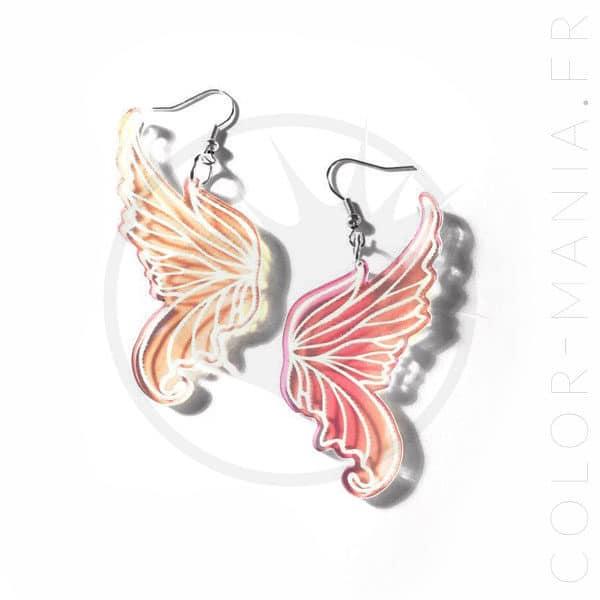 Boucles d'Oreilles Ailes de Fée Transparent Irisé | Color-Mania