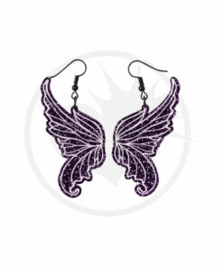 Purple Glitter Fairy Winged Pendientes | Color-Mania